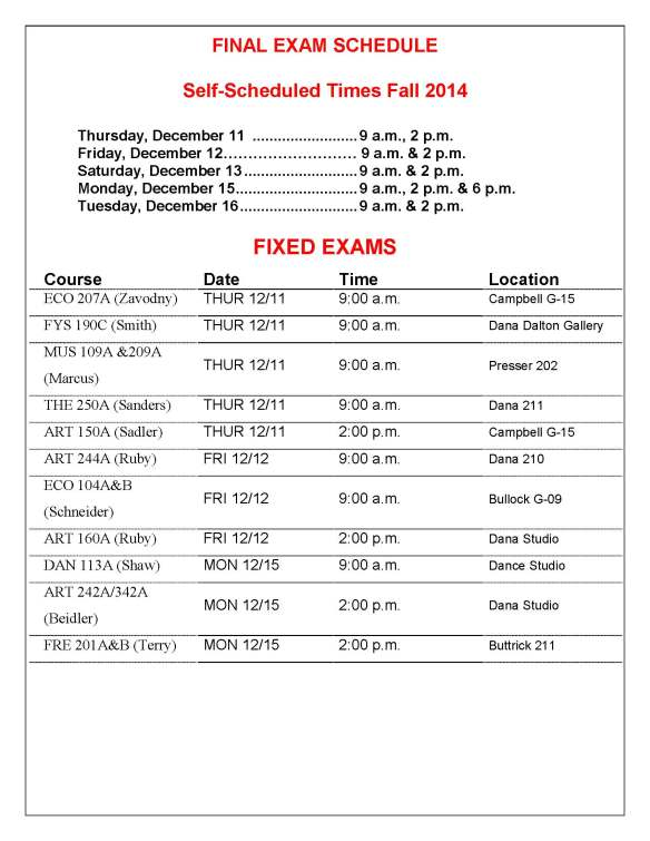 14 Fall Exam Schedule